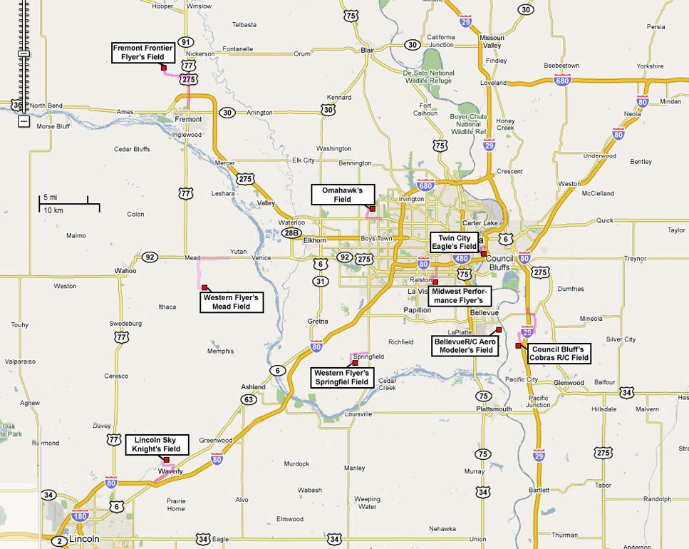 Map Showing All The R C Club Fields In The Omaha Ne Area